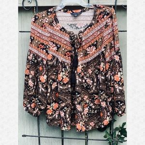 American Eagle Outfitters Lace Up BoHo Top